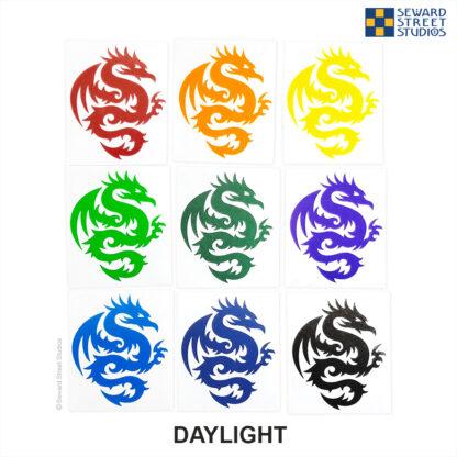 Seward Street Studios Tribal Dragon Reflective Vinyl Decals shown in Daylight