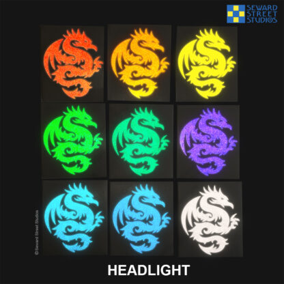 Seward Street Studios Tribal Dragon Reflective Vinyl Decals shown under headlights