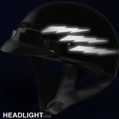 Reflective Lightning Bolt Decal Set at Night Under Headlights