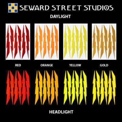 Hyper Reflective Lightning Decal Set - Red, Orange, Yellow, Gold