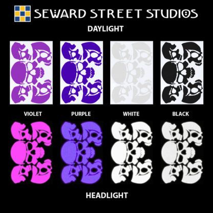 Hyper Reflective Skulls Decal Set - Violet, Purple, White, Black
