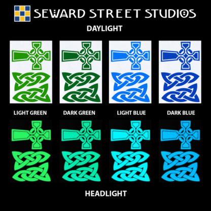 Hyper Reflective Celtic Cross Decal Set - Light Green, Dark Green, Light Blue, Dark Blue