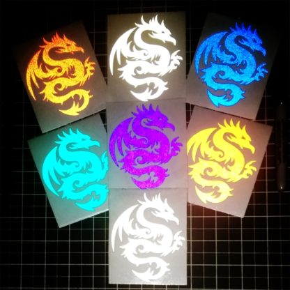 Round Tribal Reflective Dragon Decal