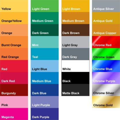 31 Regular Vinyl Colors and 6 Chrome Vinyl Colors