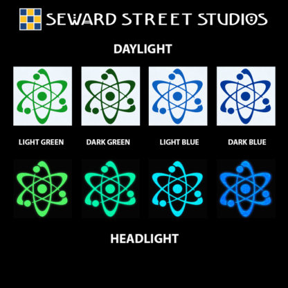 Hyper Reflective Atom Decal - Light Green, Dark Green, Light Blue, Dark Blue