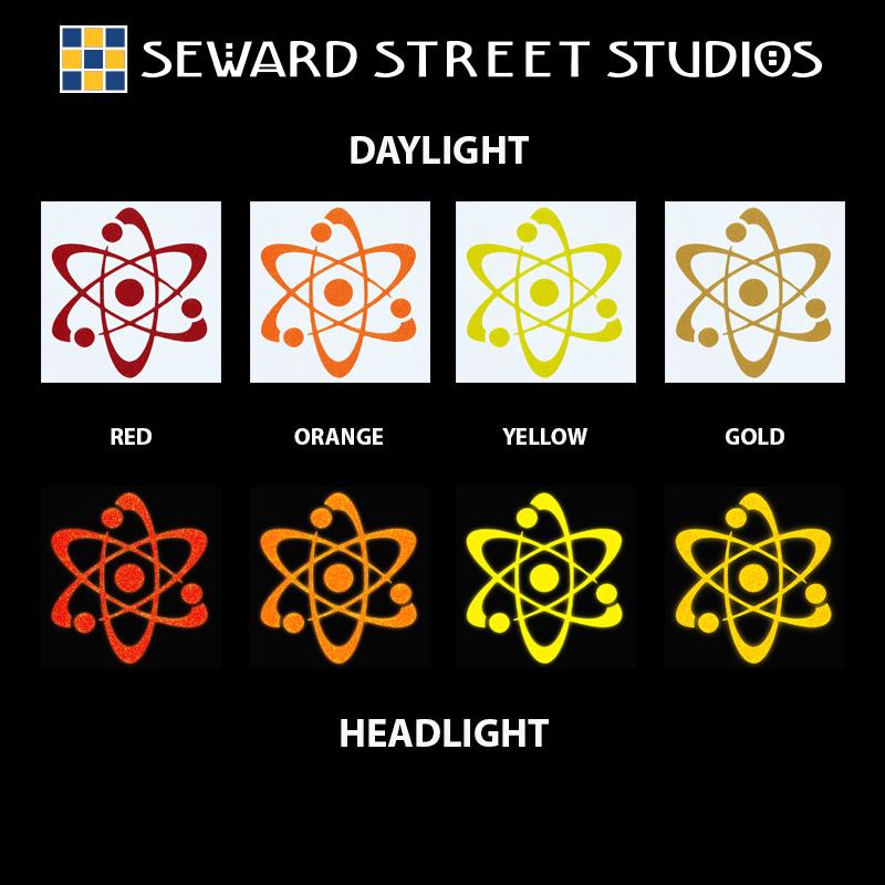 Hyper Reflective Atom Symbol Decal Seward Street Studios