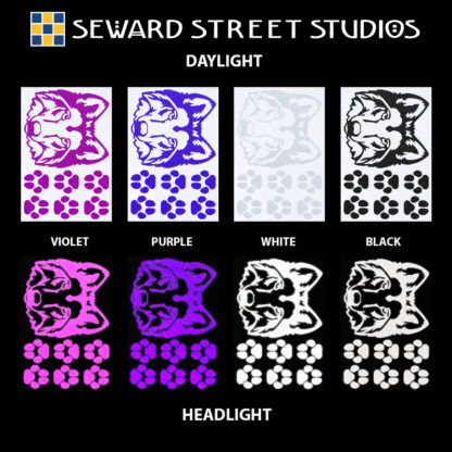 Hyper Reflective Wolf Decal Set - Violet, Purple, White, Black