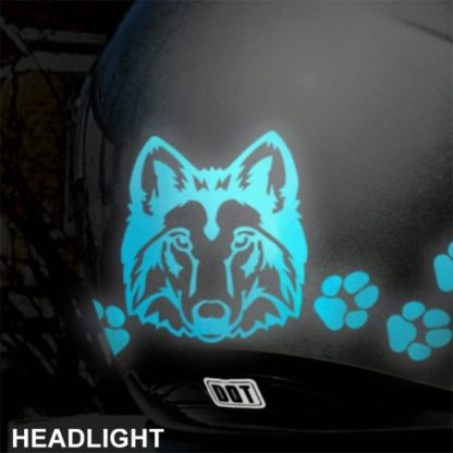 Hyper Reflective Wolf Head Decal Set