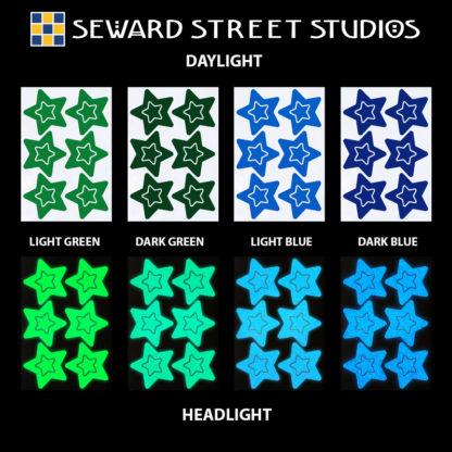 Hyper Reflective Stars Decal Set - Light Green, Dark Green, Light Blue, Dark Blue