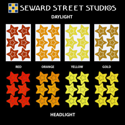 Hyper Reflective Stars Decal Set - Red, Orange, Yellow, Gold