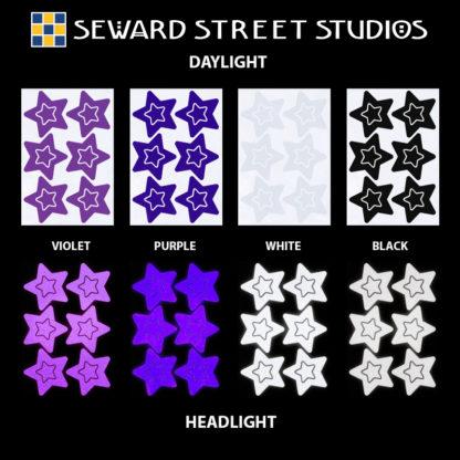 Hyper Reflective Stars Decal Set - Violet, Purple, White, Black
