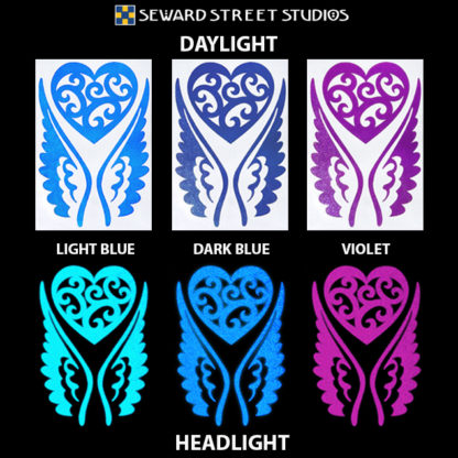 Hyper Reflective Tribal Heart with Wings Decal Set - Light Blue, Dark Blue, Violet