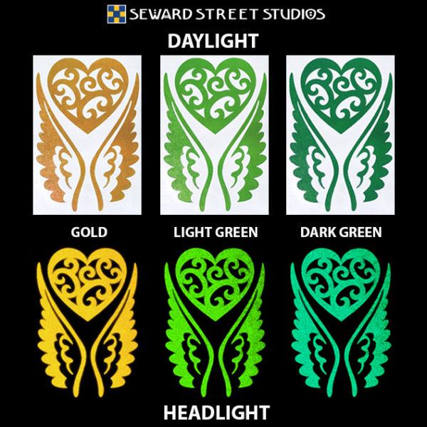 Hyper Reflective Tribal Heart with Wings Decal Set - Gold, Light Green, Dark Green