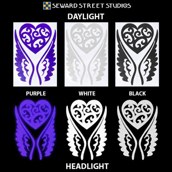 Hyper Reflective Tribal Heart with Wings Decal Set - Purple, White, Black