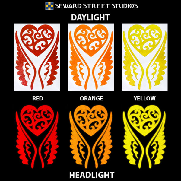 Hyper Reflective Tribal Heart with Wings Decal Set - Red, Orange, Yellow.