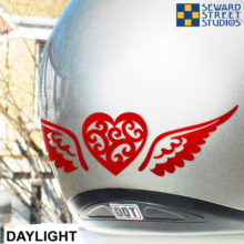 Reflective Vinyl Tribal Heart with Wings Decal Set