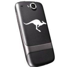 Seward Street Studios Kangaroo Vinyl Decal Shown on a Black Phone