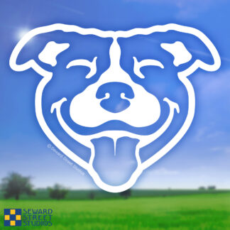 Seward Street Studios Happy Pitbull Face Vinyl Decal. Shown on a Field Background