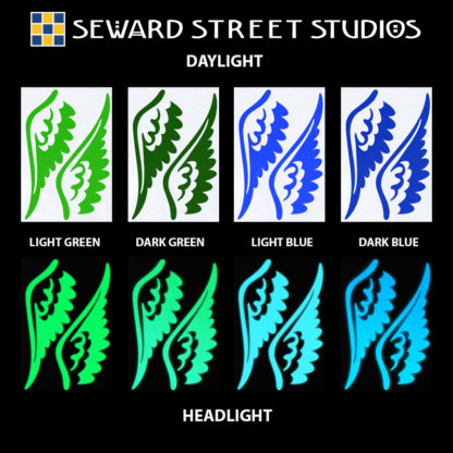 Hyper Reflective Tattoo Wings Decal Set - Light Green, Dark Green, Light Blue, Dark Blue