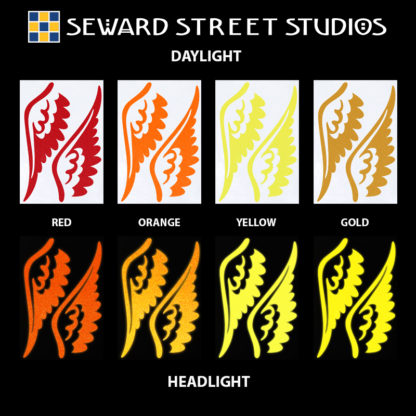 Hyper Reflective Tattoo Wings Decal Set - Red, Orange, Yellow, Gold