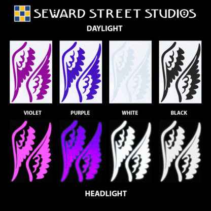 Hyper Reflective Tattoo Wings Decal Set - Violet, Purple, White, Black