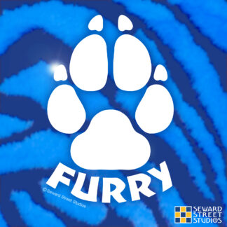 Seward Street Studios Furry Paw Print Vinyl Decal. Shown on a Blue fur background
