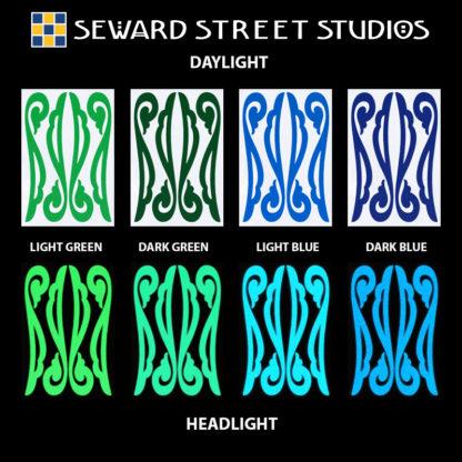 Hyper Reflective Vintage Filigree Decal Set - Light Green, Dark Green, Light Blue, Dark Blue