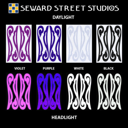 Hyper Reflective Vintage Filigree Decal Set - Violet, Purple, White, Black
