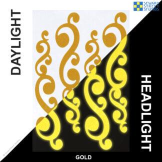 810 Gold Reflective Vintage Swirls Decal Set by Seward Street Studios