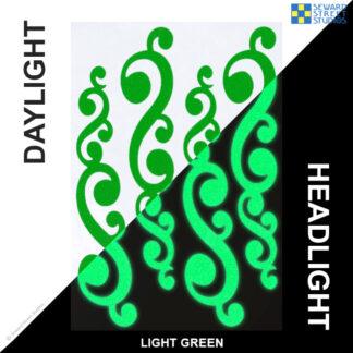 810 Green Reflective Vintage Swirls Decal Set by Seward Street Studios