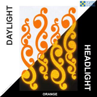 810 Orange Reflective Vintage Swirls Decal Set by Seward Street Studios