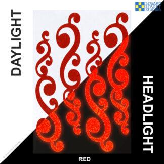 810 Red Reflective Vintage Swirls Decal Set by Seward Street Studios