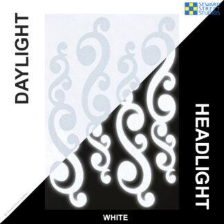 810 White Reflective Vintage Swirls Decal Set by Seward Street Studios
