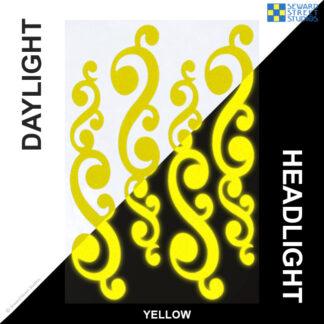 810 Yellow Reflective Vintage Swirls Decal Set by Seward Street Studios