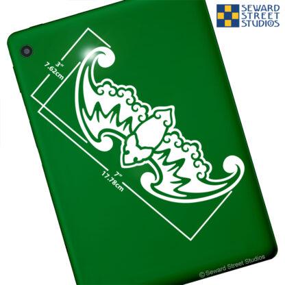 824 Seward Street Studios Fu Bat Vinyl Decal. Shown on a green tablet.