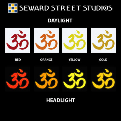 Hyper Reflective Om Symbol Decal - Red, Orange, Yellow, Gold