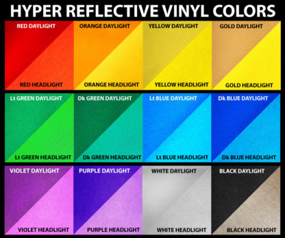 12 Hyper Reflective Vinyl Decal Color Options
