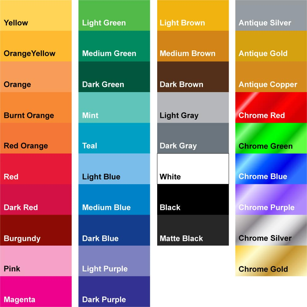 Color Chart showing our Regular Vinyl Decal Color Options