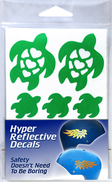 Heart Turtle Hyper Reflective Decal Set shown in retail packaging