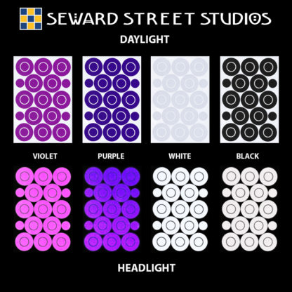 Hyper Reflective Circles & Dots Decal Set - Violet, Purple, White, Black