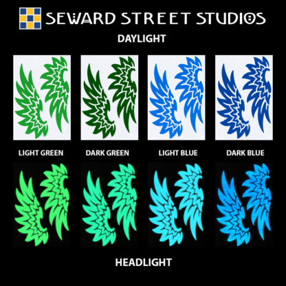 Hyper Reflective Tribal Wings Decal Set - Light Green, Dark Green, Light Blue, Dark Blue