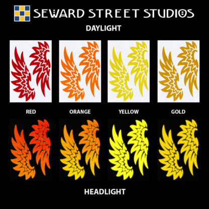 Hyper Reflective Tribal Wings Decal Set - Red, Orange, Yellow, Gold