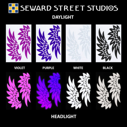 Hyper Reflective Tribal Wings Decal Set - Violet, Purple, White, Black