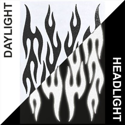876 Reflective Flame Decal Set by Seward Street Studios, shown in black in daylight and under headlights