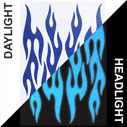 876 Reflective Flame Decal Set by Seward Street Studios, shown in dark blue in daylight and under headlights