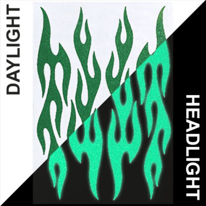 876 Reflective Flame Decal Set by Seward Street Studios, shown in dark green in daylight and under headlights