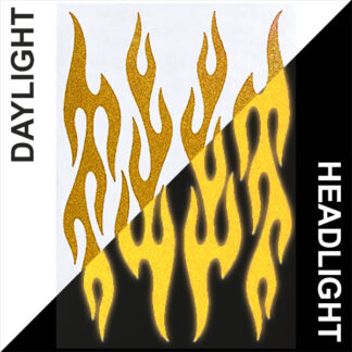 876 Reflective Flame Decal Set by Seward Street Studios, shown in gold in daylight and under headlights