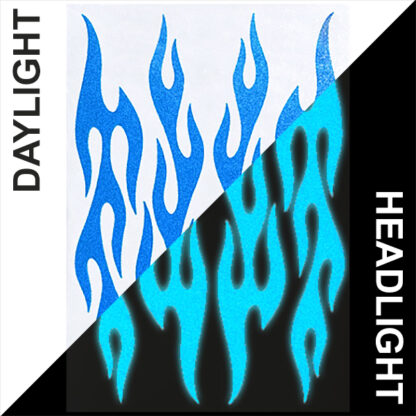 876 Reflective Flame Decal Set by Seward Street Studios, shown in light blue in daylight and under headlights