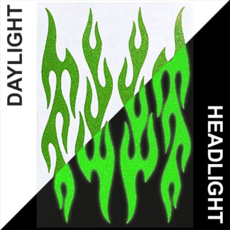 876 Reflective Flame Decal Set by Seward Street Studios, shown in light green in daylight and under headlights