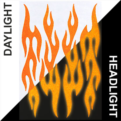 876 Reflective Flame Decal Set by Seward Street Studios, shown in orange in daylight and under headlights